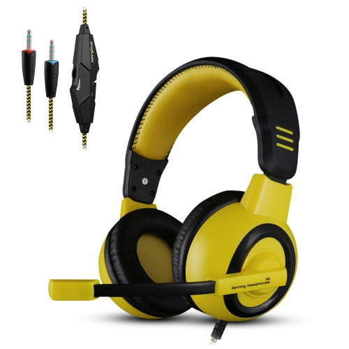 Ovann X6 Professional Esport Gaming Stereo Bass Headset Headphone Earphone Over Ear 3.5mm Wired with Microphone for PC Computer Laptop C3105B-Y