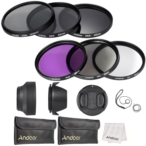 Buy Andoer 62mm Lens Filter Kit UV+CPL+FLD+ND(ND2 ND4 ND8) Carry Pouch / Cap Holder Tulip & Rubber Hoods Cleaning Cloth