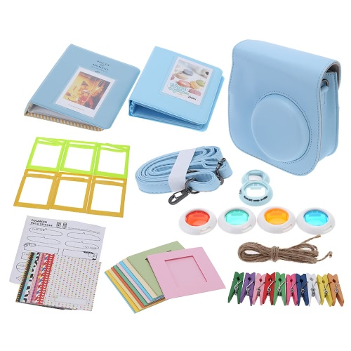 7 in 1 Instant Film Camera Accessories Bundles for Fujifilm Instax Mini8 with Case/Photo Album/Close-Up Selfie Lens/Colors Close-Up Lens/Wall Hang Frames/Photos Frame/Stickers Cute Kids Friends Gift D3131