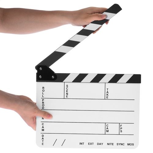 24 * 29.5cm Black & White Acrylic Dry Erase Clapboard Clap-stick Slate Clapper Board Slate for Film Movie Cut Action Scene Director D3998-1