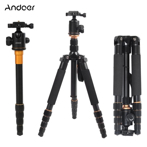 Andoer Foldable Portable Extendable Aluminium Alloy Tripod Unipod Monopod with Ball Head for Canon Nikon Sony DSLR Camera D1114-2