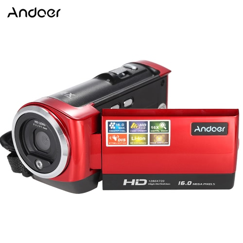 Andoer 16MP Mini Portable 720P 30FPS HD 2.7'' LCD Screen Digital Camera Anti-shake Video Recorder DV Camcorder 16X Digital Zoom