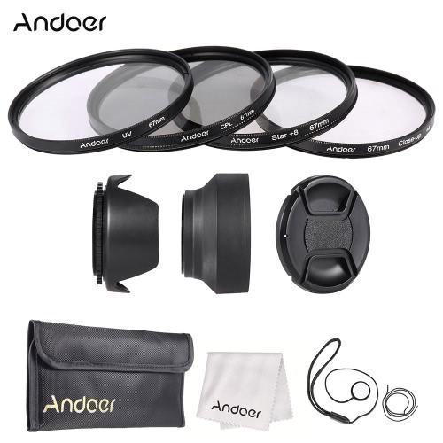 Buy Andoer 67mm Lens Filter Kit Cap Holder Tulip Rubber Hoods Cleaning Cloth