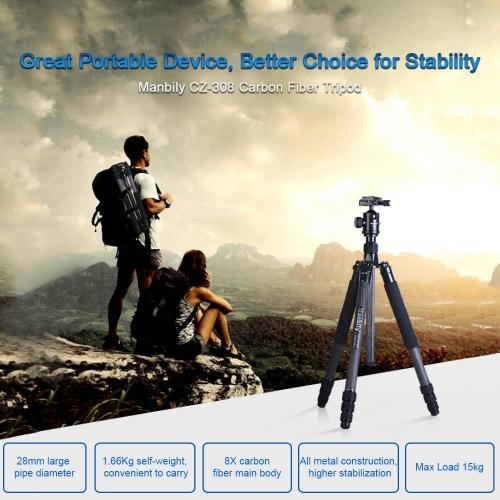 Manbily CZ-308 Professional Portable Carbon Fiber Tripod Kit Large-Diameter 4 Sections DSLR Camera Tripod Includes KF-0 Ball Head Max Load 15kg D3504