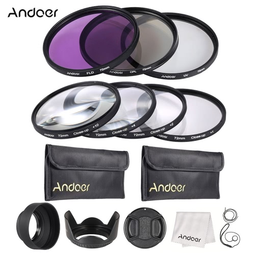 Buy Andoer 72mm UV + CPL FLD Close-up(+1+2+4+10) Lens Filter Kit Carry Pouch Cap Holder Tulip & Rubber Hoods Cleaning Cloth
