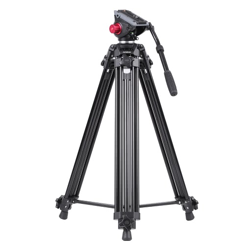 Andoer Professional Aluminum Alloy Camera Video Tripod Panorama Fluid Hydraulic Head Ballhead for Canon Nikon Sony DSLR Recorder DV Max Height 67 Inches Max Load 10KG with Carrying Bag D3804