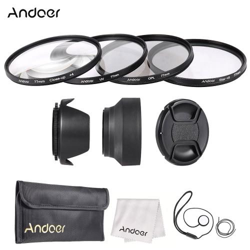 Buy Andoer 77mm Lens Filter Kit Cap Holder Tulip Rubber Hoods Cleaning Cloth