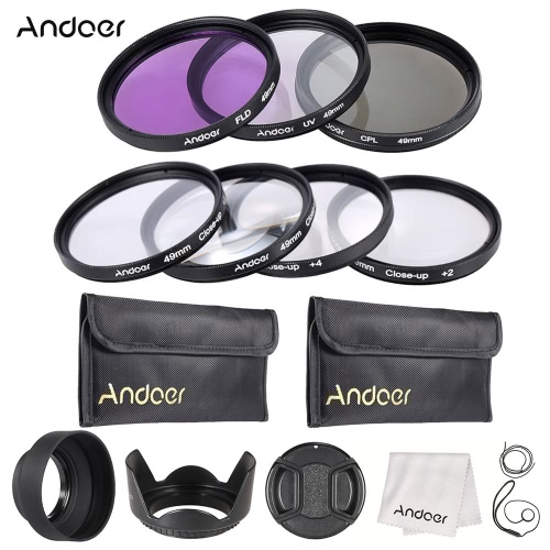 Buy Andoer 49mm UV + CPL FLD Close-up Lens Filter Kit Carry Pouch Cap Holder Tulip Rubber Hoods Cleaning Cloth