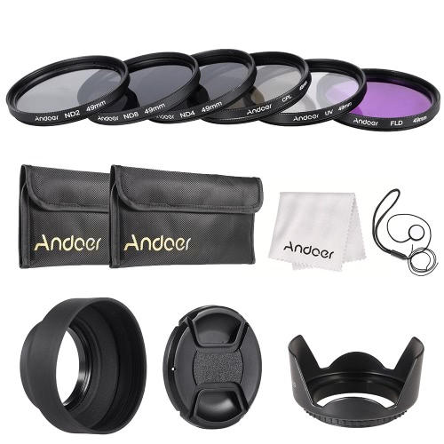 Buy Andoer 49mm Lens Filter Kit UV+CPL+FLD+ND(ND2 ND4 ND8) Carry Pouch / Cap Holder Tulip & Rubber Hoods Cleaning Cloth