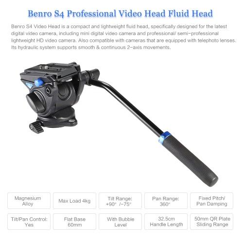 Benro S4 Professional Video Head Fluid Head Hydraulic Damping 3D Tripod Head Video Camera Monopod Head Max Load 4kg D3656