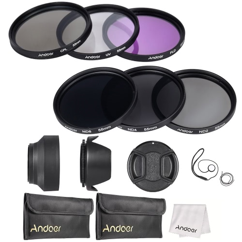 Buy Andoer 55mm Lens Filter Kit UV+CPL+FLD+ND(ND2 ND4 ND8) Carry Pouch / Cap Holder Tulip & Rubber Hoods Cleaning Cloth
