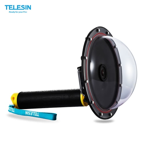 TELESIN Upgrade Advanced Aluminum Alloy Dome Port Accessory for Gopro Hero 4 / 3+/ 3 Diving Camera Sports Action Cam Underwater Photography Waterproof 30M with Floaty Grip D4078