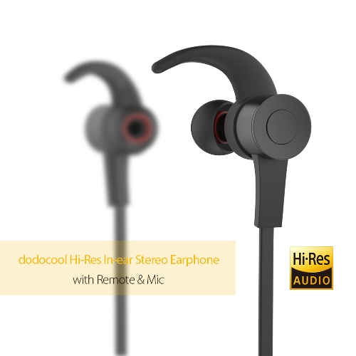 dodocool Hi-Res Audio Certified 24-bit High Resolution In-ear Sport Stereo Earphone with Remote & Mic 3.5mm Gold-plated Audio Plug Sound Isolation Earplugs  Black