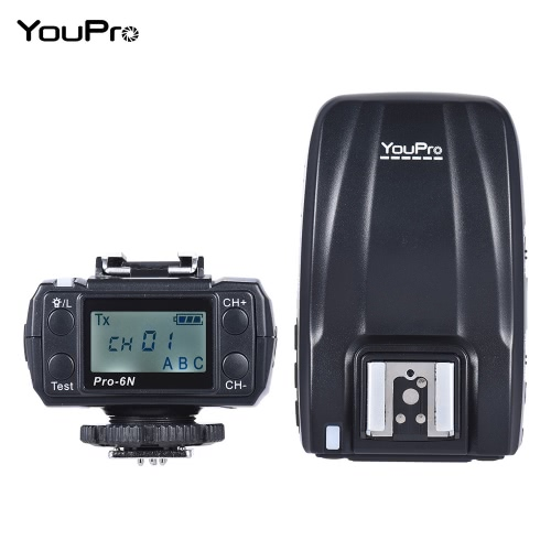 YouPro Pro-6N 24G Wireless i-TTL 18000S HSS Flash Trigger Transmitter Receiver for Nikon D750 D810 D7200 D610 D7000 D5500 D5200 D5300 D3300 D3200 DSLR Camera 11281