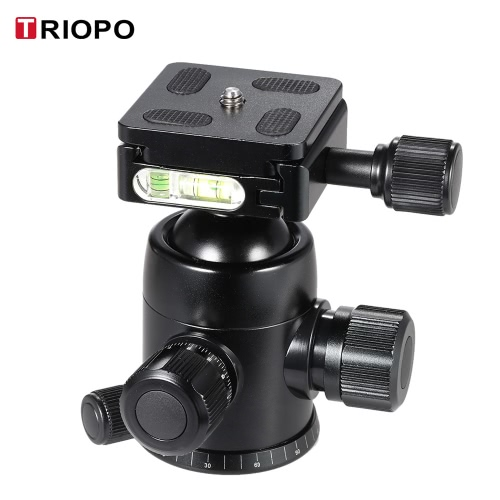 TRIOPO B-2 Tripod Head Ball Head 360 Degree Panorama Head W/ Built-in Double Spirit Levels & Safety Catch for DSLR Cameras Max Load 8Kg D3547B