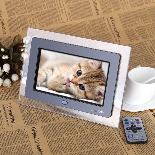 "7"" HD TFT-LCD Digital Photo Frame with Slideshow Transparent Frame Alarm Clock MP3 MP4 Movie Player with Remote Desktop D1528B-US"