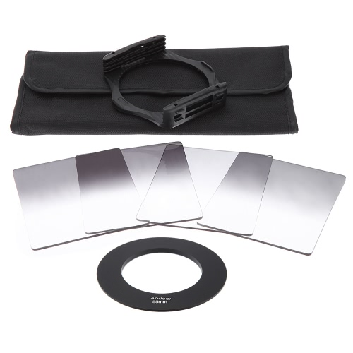 Andoer P Series Gradual Graduated Neutral Density Resin Filter Set Graduated Filters 0.3ND 0.6ND 0.9ND 1.2ND 55mm Adapter Ring Square Filter Holder with Bag for DSLR CameraAndoer P Series Gradual Graduated Neutral Density Resin Filter Set Graduated Filters 0.3ND 0.6ND 0.9ND 1.2ND 55mm Adapter Ring Square Filter Holder with Bag for DSLR Camera<br><br>Product weight: 168.0g
