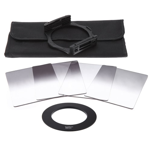 Andoer Gradual Graduated Neutral Density Resin Filter Set Graduated Filters 0.3ND 0.6ND 0.9ND 1.2ND 58mm Adapter Ring Square Filter Holder with Bag for DSLR CameraAndoer Gradual Graduated Neutral Density Resin Filter Set Graduated Filters 0.3ND 0.6ND 0.9ND 1.2ND 58mm Adapter Ring Square Filter Holder with Bag for DSLR Camera<br><br>Blade Length: 22.5cm
