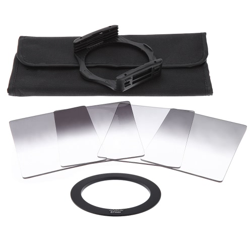 Andoer P Series Gradual Graduated Neutral Density Resin Filter Set Graduated Filters 0.3ND 0.6ND 0.9ND 1.2ND 67mm Adapter Ring Square Filter Holder with Bag for DSLR CameraAndoer P Series Gradual Graduated Neutral Density Resin Filter Set Graduated Filters 0.3ND 0.6ND 0.9ND 1.2ND 67mm Adapter Ring Square Filter Holder with Bag for DSLR Camera<br><br>Blade Length: 22.5cm