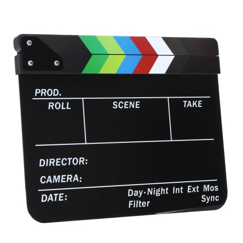 "Acrylic Clapboard Dry Erase Director Film Movie Cut/ Action Clapper Board Slate(11.8 * 9.6"""" / 30 * 24.5cm) with Magnet Sticks"" D2231-2"