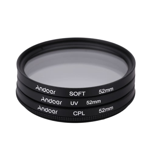 Andoer 52mm UV+CPL+SOFT Circular Filter Kit Circular