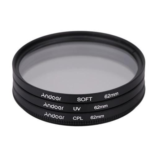 Andoer 62mm UV+CPL+SOFT Circular Filter Kit Circular
