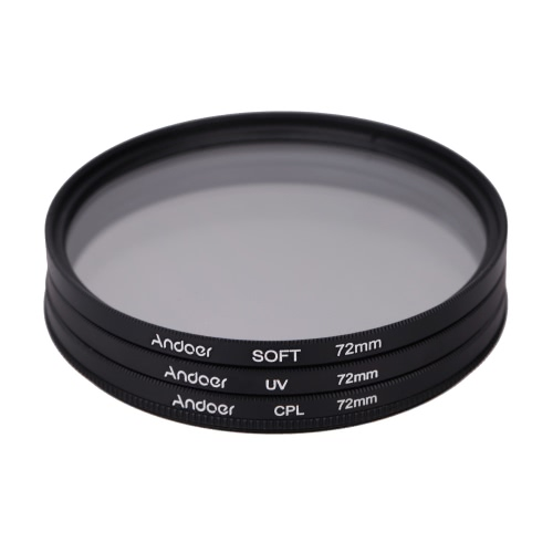 Andoer 72mm UV+CPL+SOFT Circular Filter Kit Circular
