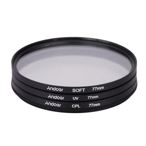 Andoer 77mm UV+CPL+SOFT Circular Filter Kit Circular