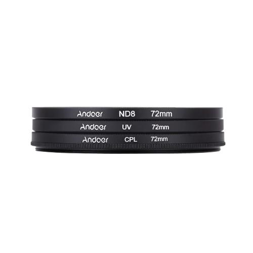 Andoer 72mm UV+CPL+ND8 Circular Filter Kit Circular