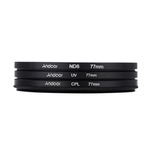 Andoer 77mm UV+CPL+ND8 Circular Filter Kit Circular Polarizer Filter ND8 Neutral Density Filter with Bag for Nikon Canon Pentax Sony DSLR Camera