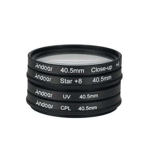 Andoer 40.5mm UV+CPL+Close-Up+4 +Star 8-Point Filter Circular