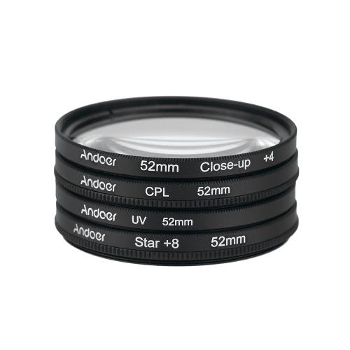 Andoer 52mm UV+CPL+Close-Up+4 +Star 8-Point Filter Circular
