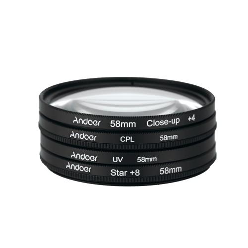 Andoer 58mm UV+CPL+Close-Up+4 +Star 8-Point Filter Circular