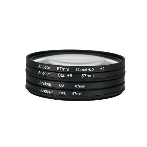 Andoer 67mm UV+CPL+Close-Up+4 +Star 8-Point Filter Circular