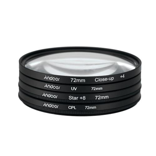Andoer 72mm UV+CPL+Close-Up+4 +Star 8-Point Filter Circular