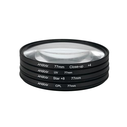 Andoer 77mm UV+CPL+Close-Up+4 +Star 8-Point Filter Circular