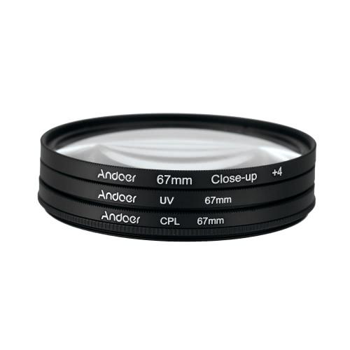 Andoer 67mm UV+CPL+Close-Up+4 Circular Filter Kit Circular
