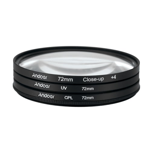 Andoer 72mm UV+CPL+Close-Up+4 Circular Filter Kit Circular