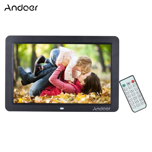 """Andoer 12"""""""" Wide Screen HD LED Digital Picture Frame Digital Album High Resolution 1280*800 Electronic Photo Frame with Remote Control Multiple Functions Including LED Clock Calendar MP3 MP4 Movie Player Support Multiple Languages"""" D4151B-UK"""