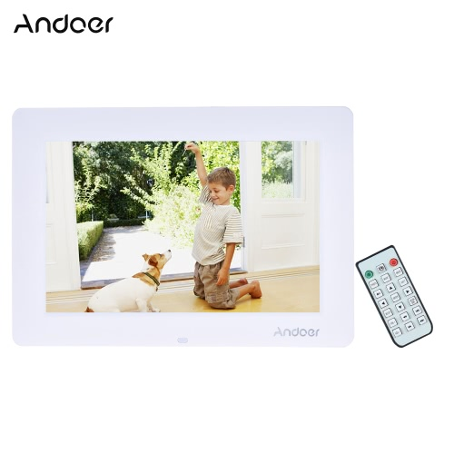 "Andoer 13"" Wide Screen HD LED Digital Picture Frame Digital Album High Resolution 1366*768 Electronic Photo Frame with Remote Control Multiple Functions Including LED Clock Calendar MP3 MP4 Movie Player Support Multiple Languages"