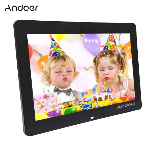 "Andoer 14"" Wide Screen HD LED Digital Picture Frame Digital Album High Resolution 1280*800 Electronic Photo Frame with Remote Control Multiple Functions Including LED Clock Calendar MP3 MP4 Movie Player Support Multiple Languages"