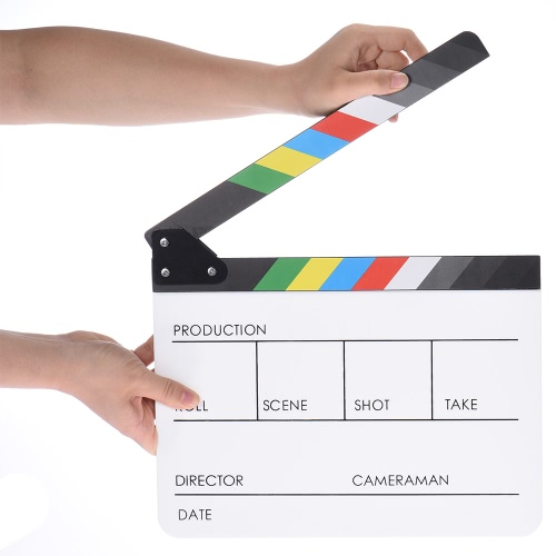 "10"""" x 12"""" / 24.5 x 30cm Acrylic Dry Erase Clap-stick Clapper Board Slate for Film Movie Cut Action Scene"" D3499W"