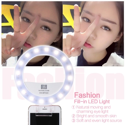 NANGUANG CN-MP32C Clip-on Selfie Fill-in Ring LED Light Flash Bi-color 3200-5600K High CRI 95 Stepless Adjustable Round Shape with 32 LED Makeup Mirror for Iphone Samsung Smartphone PinkFlashes Speedlites<br>NANGUANG CN-MP32C Clip-on Selfie Fill-in Ring LED Light Flash Bi-color 3200-5600K High CRI 95 Stepless Adjustable Round Shape with 32 LED Makeup Mirror for Iphone Samsung Smartphone Pink<br><br>Blade Length: 18.0cm