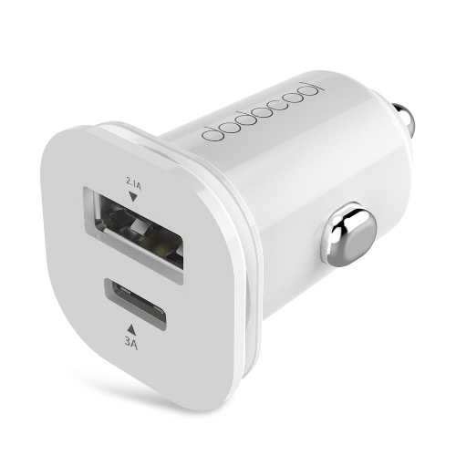 dodocool 25.5W Mini Dual USB Car Charger Adapter with USB Type-C Port and Standard USB Type-A Port Cigarette Lighter Charger Rapid Charging WhitePhone Charging Accessories<br>dodocool 25.5W Mini Dual USB Car Charger Adapter with USB Type-C Port and Standard USB Type-A Port Cigarette Lighter Charger Rapid Charging White<br><br>Blade Length: 10.7cm
