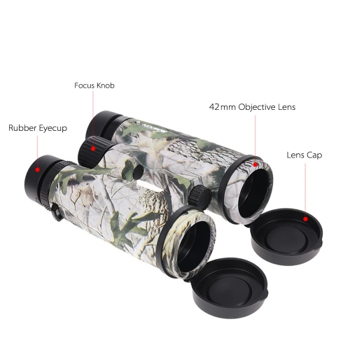 Kkmoon Professional Portable 8X42mm Classic Binoculars Telescope 330ft/1000yds Optical Lens with Pouch for Bird Watching Traveling   Camping Hiking Outdoor Sports Beach Activities
