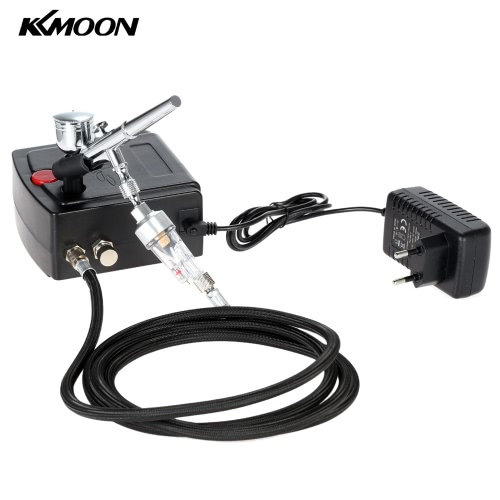 KKmoon 100-250V Professional Gravity Feed Dual Action Airbrush Air Compressor Kit for Art Painting Tattoo Manicure Craft Cake Spray Model Air Brush Nail Tool Set