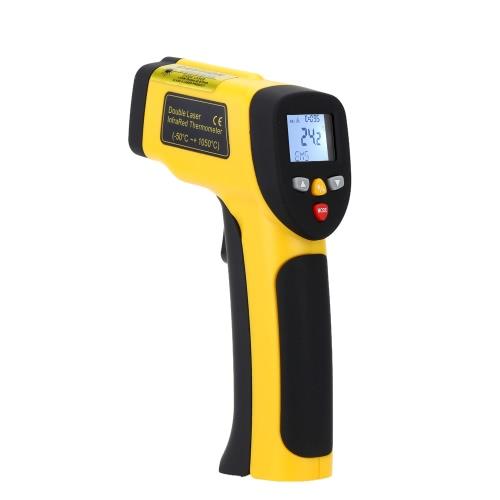 Double Laser haute précision sans contact IR numérique infrarouge thermomètre température testeur pyromètre -50 ~ 1050 ° C (-58 ~ 1922 ° F)