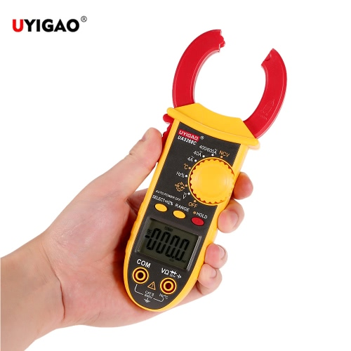 DIY Electronics E1846 UYIGAO Brand New AC/DC Portable Handheld LCD Diaplay Digital Clamp Meter with Test Lead Electronic Multimeter Voltage Current Resistance Temperature Frequency Tester