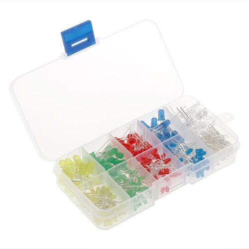 300pcs 3mm 5mm Assorted Color 2-pin Diffused LED Light Emitting Diodes Set with 5 Colors Electronic Components