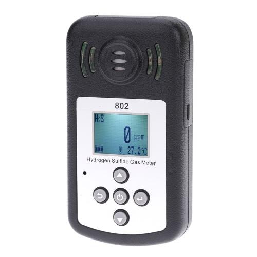 Ordinateur de poche professionnel hydrogène sulfuré gaz H2S compteur détecteur température mesure LCD affichage valeur d'alarme réglable